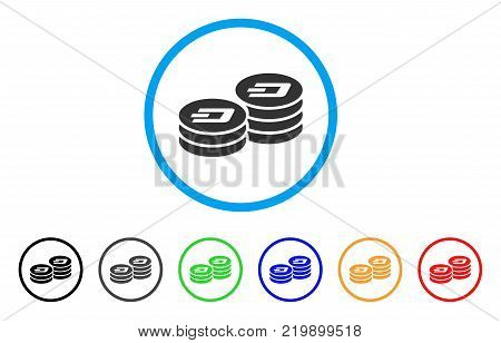 Dash Coin Columns rounded icon. Style is a flat grey symbol inside light blue circle with bonus colored variants. Dash Coin Columns vector designed for web and software interfaces.