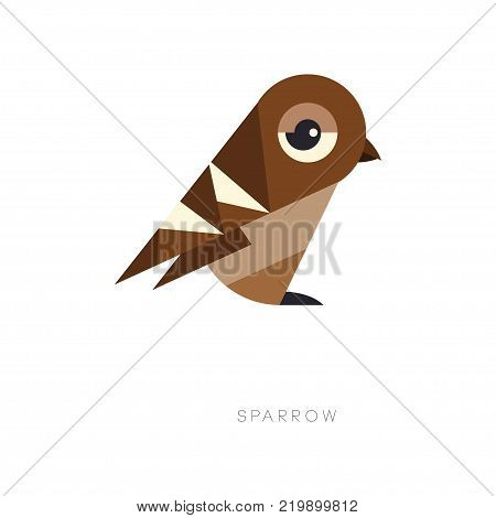 Abstract geometric symbol of brown sparrow. Silhouette of small passerine bird. Graphic element for logo, print, environmental banner or flyer. Vector illustration in flat style isolated on white.