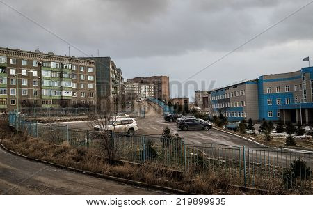 Kazakhstan Ust-Kamenogorsk december 27 2017: Urban landscape. Architecture background. One of the areas of the city