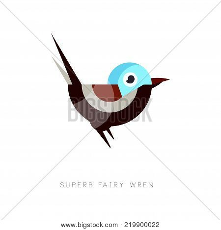 Colored superb fairy wren icon. Abstract bird composed of simple geometric shapes. Graphic element for mobile app, web icon or company emblem. Flat vector illustration isolated on white background.