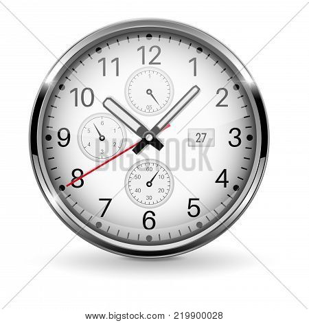 Clock. Metal chronograph with arabic numerals. Vector 3d illustration isolated on white background