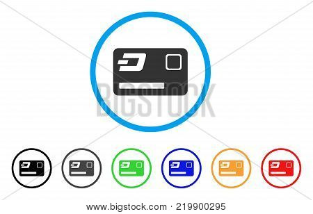 Dash Credit Card rounded icon. Style is a flat gray symbol inside light blue circle with additional colored variants. Dash Credit Card vector designed for web and software interfaces.