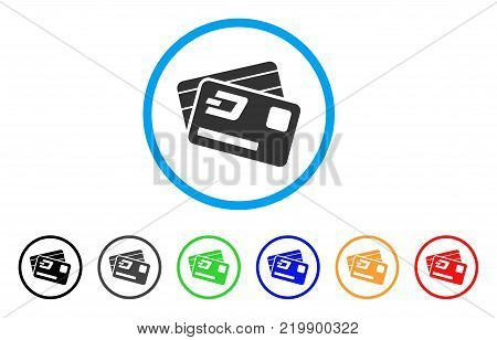 Dash Credit Cards rounded icon. Style is a flat gray symbol inside light blue circle with bonus color versions. Dash Credit Cards vector designed for web and software interfaces.