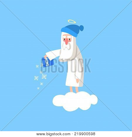 Adorable god cartoon character in action on white cloud. Happy Lord wearing winter hat and throwing snow on the ground. Heaven working days. Vector for religious greeting card, poster or print.