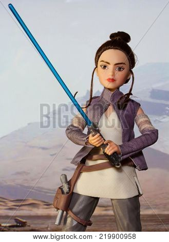 Scene depicting Rey discovering the force wielding a lightsaber while training as a Jedi - Hasbro Forces of Destiny action figure