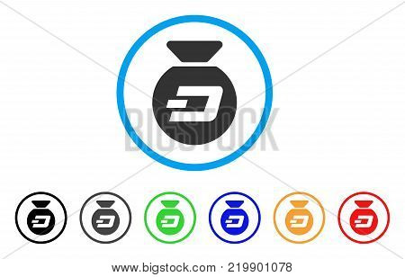 Dash Money Bag rounded icon. Style is a flat gray symbol inside light blue circle with additional color variants. Dash Money Bag vector designed for web and software interfaces.