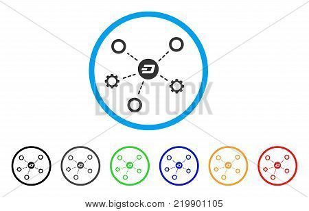 Dash Network Structure rounded icon. Style is a flat grey symbol inside light blue circle with additional colored variants. Dash Network Structure vector designed for web and software interfaces.