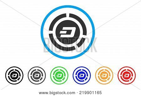 Dash Pie Chart rounded icon. Style is a flat grey symbol inside light blue circle with bonus color variants. Dash Pie Chart vector designed for web and software interfaces.