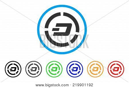 Dash Pie Chart rounded icon. Style is a flat gray symbol inside light blue circle with bonus colored variants. Dash Pie Chart vector designed for web and software interfaces.