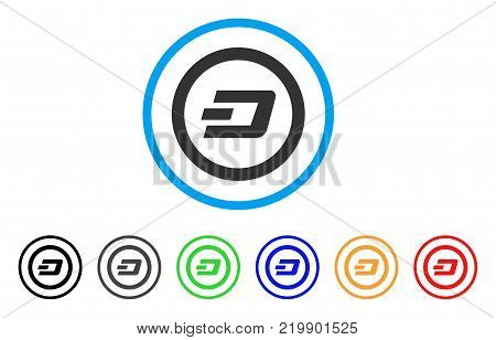 Dash Rounded rounded icon. Style is a flat grey symbol inside light blue circle with additional colored variants. Dash Rounded vector designed for web and software interfaces.
