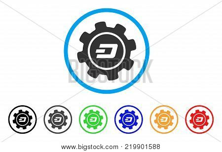 Dash Settings Gear rounded icon. Style is a flat grey symbol inside light blue circle with additional color versions. Dash Settings Gear vector designed for web and software interfaces.