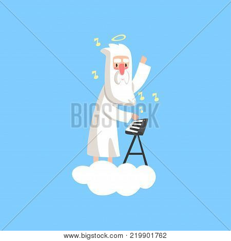 Illustration of almighty bearded god character on fluffy white cloud with halo over his head and playing on synthesizer. Creator s artistic hobby. Flat religious vector isolated on blue background. poster