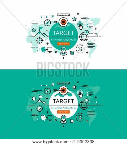 Set of modern vector illustration concepts of business goals. Line flat design hero banners for websites and apps with call to action button, ready to use