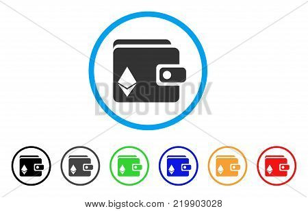 Ethereum Purse rounded icon. Style is a flat grey symbol inside light blue circle with additional colored variants. Ethereum Purse vector designed for web and software interfaces.