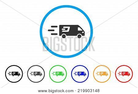 Fast Dash Delivery Car rounded icon. Style is a flat gray symbol inside light blue circle with bonus colored versions. Fast Dash Delivery Car vector designed for web and software interfaces.