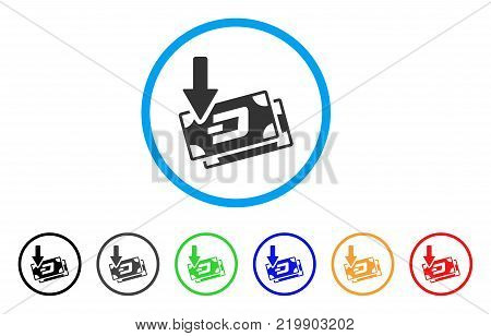 Get Arrow Dash Banknotes rounded icon. Style is a flat grey symbol inside light blue circle with bonus colored variants. Get Arrow Dash Banknotes vector designed for web and software interfaces.