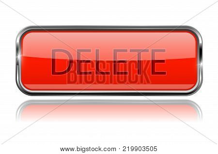 Delete buttons. Square orange glass button with metal frame. Vector 3d illustration isolated on white background