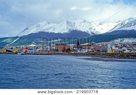 View on the Center of Ushuaia Tierra del Fuego, Argentina. Ushuaia is the capital of Tierra del Fuego.