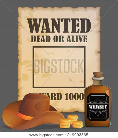 Cowboy wild west wanted poster design template, antique advertisment, criminal quest, cowboy hat, reward gold coins, whiskey bottle.