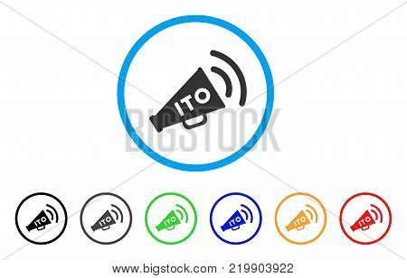 Ito Alert Megaphone rounded icon. Style is a flat gray symbol inside light blue circle with bonus colored versions. Ito Alert Megaphone vector designed for web and software interfaces.