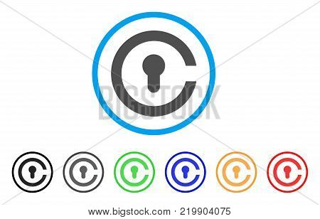 Keyhole rounded icon. Style is a flat grey symbol inside light blue circle with additional color variants. Keyhole vector designed for web and software interfaces.