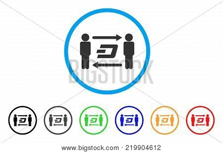 People Exchange Dash rounded icon. Style is a flat gray symbol inside light blue circle with additional colored versions. People Exchange Dash vector designed for web and software interfaces.