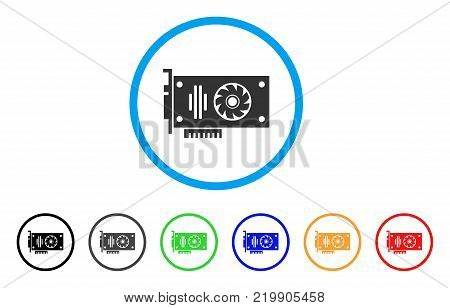Video Gpu Card rounded icon. Style is a flat gray symbol inside light blue circle with additional color versions. Video Gpu Card vector designed for web and software interfaces.