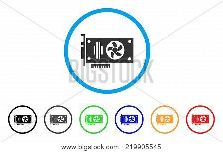 Videocard rounded icon. Style is a flat grey symbol inside light blue circle with bonus colored versions. Videocard vector designed for web and software interfaces.