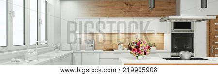 Planning draft of modern kitchen panorama with gradient from white to 3D Rendering