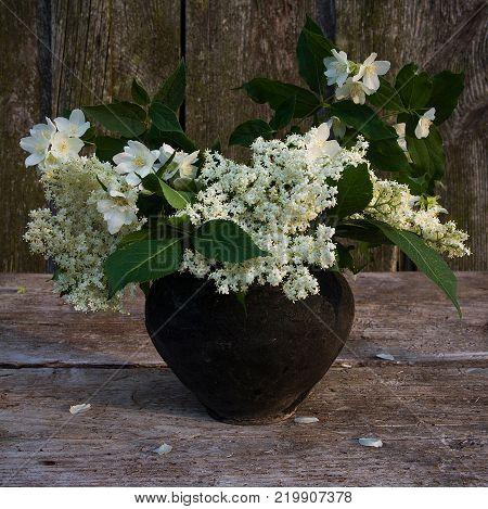 Bouquet of elderberry flowers and mock orange flowers in a black ceramic pot