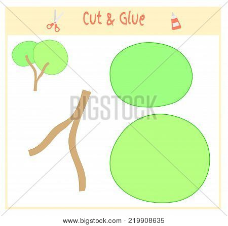Education paper game for the development of preschool children. Cut parts of the image and glue on the paper. Vector illustration. Use scissors and glue to create the applique. Green tree.