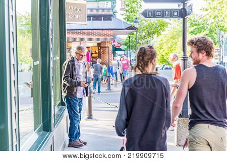 Bar Harbor, Usa - June 8, 2017: People Walking On Sidewalk In Downtown Village On Mount Desert Islan