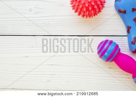 Pet care, veterinary, grooming concept.A white wooden background with a corner of pet toys - Rubber squeaky ball and colorful rubber bones. Space for your your text or product display.