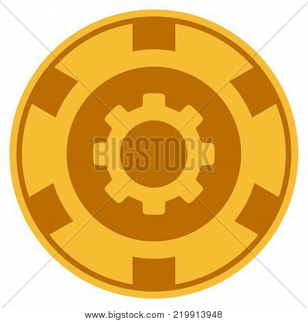 Gear golden casino chip pictogram. Vector style is a gold yellow flat gamble token symbol.