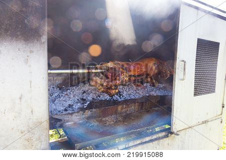 Traditional balkan dish - whole suckling pig roasted on open fire.