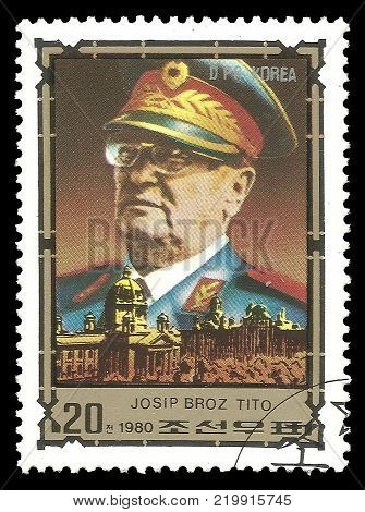 DPR Korea - circa 1980: Stamp printed by Korea Color edition on Eminent personalities Shows portrait of Josip Broz Tito circa 1980
