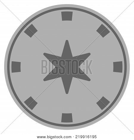 6-Finger Star gray casino chip pictogram. Vector style is a grey silver flat gamble token item.