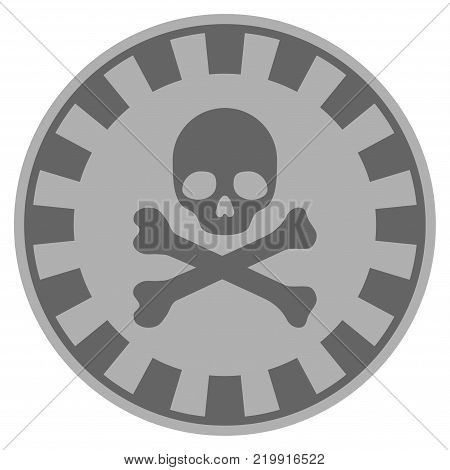 Crossbones Skull silver casino chip icon. Vector style is a gray silver flat gamble token symbol.