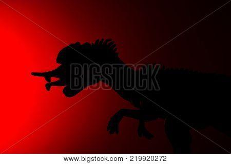shadow of allosaurus biting a smaller dinosaur with red light in dark