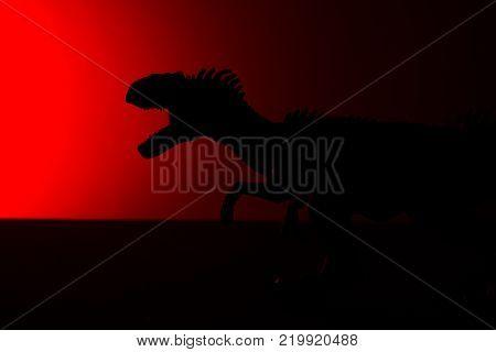allosaurus shadow with red light in dark
