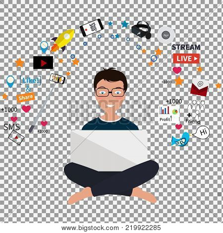 Digital marketing specialist practicing yoga on transparent background. Digital marketing vector icons. Social media icons, rocket ship, bird, mail, smart phone, Vector illustration. stock vector