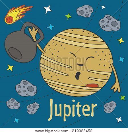 Cartoon funny Jupiter - vector illustration, eps