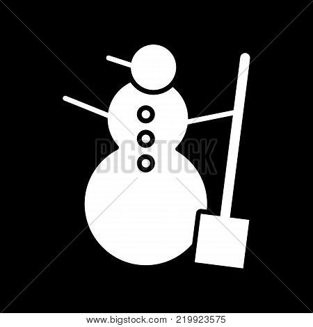 Snowman vector icon isolated on black. Snowman illustration flat design. Solid icon