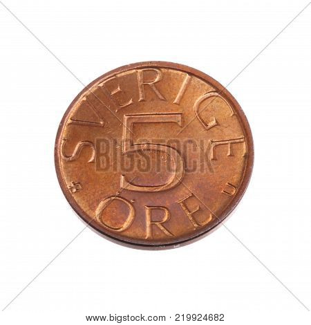 Swedish obsolet copper coin 5 ore coind 1976 isolated on white backgrouns.