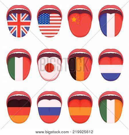 vector illustration of a language flag on human tongue, multilingual speak study