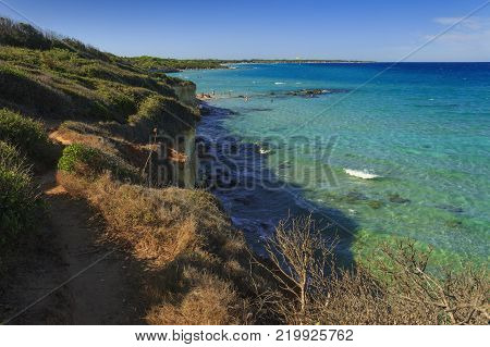 Protected oasis of the lakes Alimini: Turkish Bay  Baia dei Turchi . Just a few kilometers north of Otranto, this coast is one of the most important ecosystems in Salento and Apulia