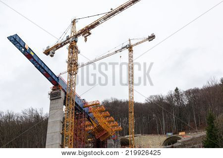 Muehlhausen, Germany - December 27, 2017: New tunnel construction of the Stuttgart 21 railway project at Muehlhausen on the Aichelberg near Stuttgart, Germany. Stuttgart 21 is a controversial project due to its immense costs.