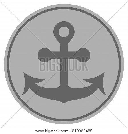 Anchor silver coin icon. Vector style is a silver grey flat coin symbol.