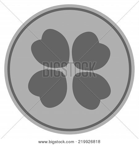Four-Leafed Clover silver coin icon. Vector style is a silver gray flat coin symbol.