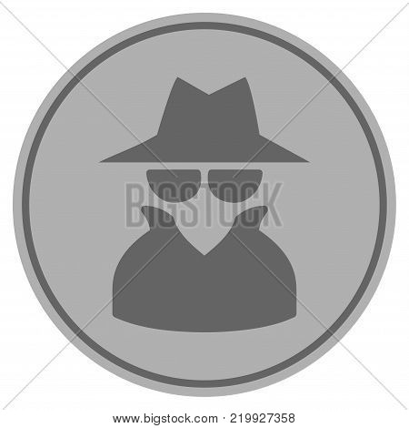 Spy silver coin icon. Vector style is a silver grey flat coin symbol.